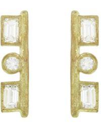Tate - Rectangle And Circle Diamond Stud Earrings - Lyst