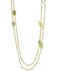 Cathy Waterman - Peridot And Pearl Wire Wrap Necklace - Lyst