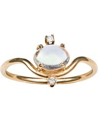 Wwake - Nestled Moonstone And Diamond Ring - Lyst