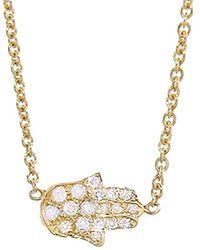 Jennifer Meyer - Mini Diamond Hamsa Necklace - Lyst