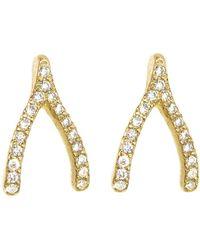 Jennifer Meyer - Diamond Wishbone Stud Earrings - Lyst
