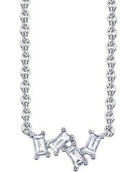 Borgioni - Four Diamond Baguette Cluster Necklace - Lyst