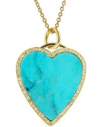 Jennifer Meyer - Diamond Turquoise Inlay Heart Pendant Necklace - Lyst