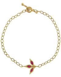 Cathy Waterman - Three Leaf Ruby Chain Bracelet - Lyst