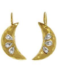 Cathy Waterman - Diamond Crescent Moon Earrings - Lyst