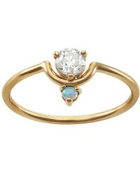 Wwake - Small Nestled Diamond & Opal Ring - Lyst