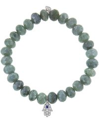 Sydney Evan - Sapphire Baby Hamsa Charm On Blue Silverite Beaded Bracelet - Lyst