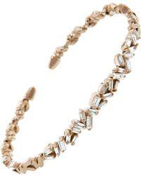 Suzanne Kalan - Medium Flexible Zig Zag White Diamond Firework Bangle Bracelet - Lyst