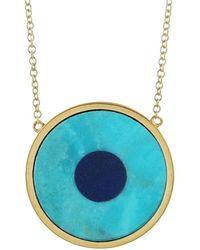 Jennifer Meyer - Turquoise Inlay And Lapis Center Eye Necklace - Lyst