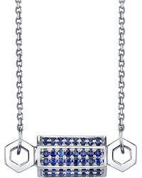 Borgioni - Pavé Blue Sapphire Bolt Necklace - Lyst
