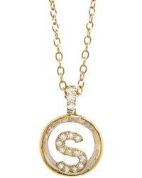 Moritz Glik - Pendant With Pavé Initial Necklace - Lyst