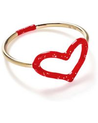 Jordan Askill - Red Glitter Enamel Heart Ring - Lyst