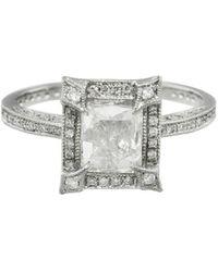 Cathy Waterman - Pavé Frame Emerald Cut Diamond Ring - Lyst