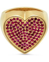 Established - Ruby Heart Surface Ring - Lyst