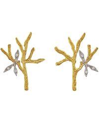 Cathy Waterman - Tree Branch & Leaves Stud Earrings - Lyst