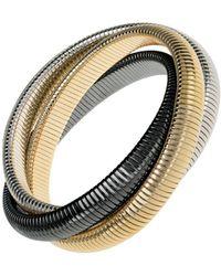 Janis Savitt - High Polished Gold, Rhodium And Gunmetal Triple Cobra Bracelet - Lyst
