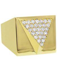 Janis Savitt - Wide Pave Diamond Triangle Ring - Lyst