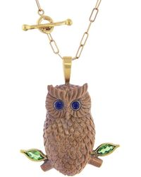 Cathy Waterman - Diopside And Blue Sapphire Wood Owl Charm - Lyst