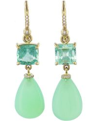 Irene Neuwirth - Emerald Square And Chrysoprase Teardrop Earrings - Lyst