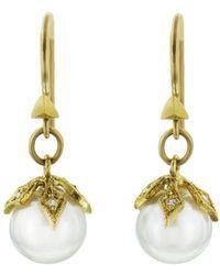Cathy Waterman - Crusader Cap Pearl Earrings - Lyst