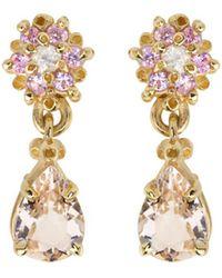 Ruta Reifen - Pink Flower Morganite Teardrop Earrings - Lyst