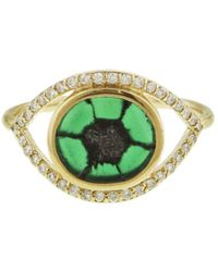 Melissa Joy Manning - Trapiche Emerald And Diamond Evil Eye Ring - Lyst