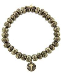 Sydney Evan - Diamond Cross Disc Charm On Pyrite Beaded Bracelet - Lyst