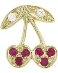 Sydney Evan - Pavé Ruby Cherry Single Stud Earring - Lyst