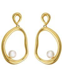 Ileana Makri - Flow Dangling Pearl Hoop Earrings - Lyst