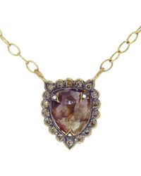Cathy Waterman - Rustic Diamond Shield Necklace - Lyst