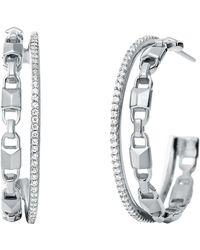 Michael Kors - Mercer Collection Sterling Silver Double Hoop Earrings - Lyst