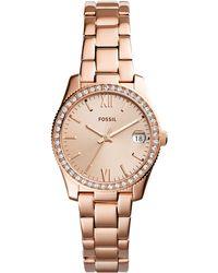 Fossil - Women's Scarlette Rose Gold-tone Stainless Steel Bracelet Watch 32mm - Lyst