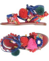 Dolce & Gabbana - Pom-Pom Leather Sandals - Lyst