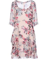 French Connection - Linosa Crinkle Ss Round Neck Tierd Dress - Lyst