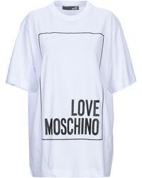 f48ea11e Love Moschino - Woman Metallic Printed Stretch-modal T-shirt White - Lyst