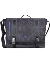 Armani Jeans All Over Logo Eco Leather Messenger Bag in Black for ... ac5933a3bb387