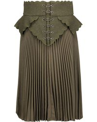 Antonio Berardi - Embroidered Wool Felt-paneled Plissé Wool-canvas Skirt - Lyst
