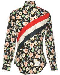 Thom Browne - Stripes & Floral Printed Poplin Shirt - Lyst