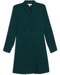 TOPSHOP - Pleated Mini Shirt Dress - Lyst