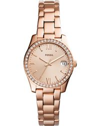 Fossil - Women's Scarlette Rose Gold-tone Stainless Steel Bracelet Watch 32mm - Lyst