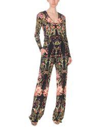 Roberto Cavalli - Galaxy Garden Printed Long Sleeve Jumpsuit S - Lyst