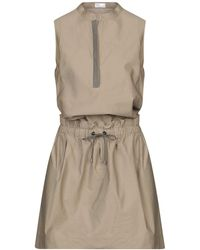 abb142624 Brunello Cucinelli Knee-length Dress in Natural - Lyst