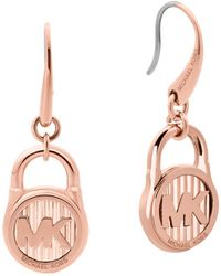 Michael Kors - Logo Stainless Steel Padlock Drop Earrings - Lyst