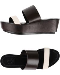 Tory Burch - Two-tone Textured-leather Platform Sandals - Lyst