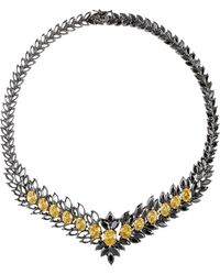 Iosselliani   Statement Zircon Gunmetal Necklace   Lyst