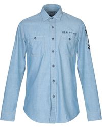 8bcb694a9 Replay Regular Fit Patches Denim Shirt in Blue for Men - Lyst