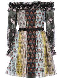 Giamba   Floral Bardot Trim Dress   Lyst