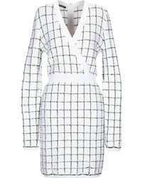 Balmain - Checked V-neck Dress - Lyst