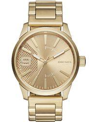 DIESEL - Men's Rasp Gold-tone Stainless Steel Bracelet Watch 46x53mm Dz1761 - Lyst