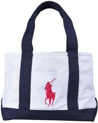 a81b7b962bab Lyst - Ralph Lauren Leather-Trim Equestrian Tote in Red